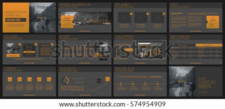Orange elements for infographics on a dark grey background. Presentation templates. Use in presentation, flyer and leaflet, corporate report, marketing, advertising, annual report, banner.