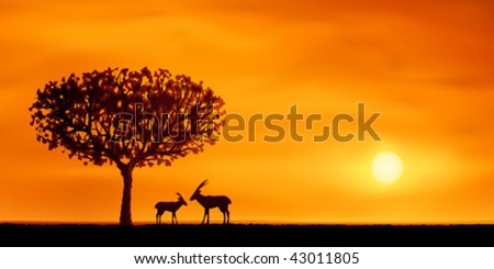 Orange evening savanna scenery with two antelopes (.JPG version id 44515186, other landscapes are in my gallery) - stock vector