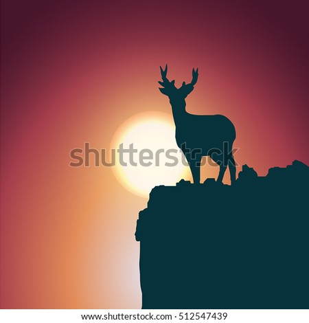 Orange evening scenery. Silhouette of a deer standing on a hill. Vector illustration