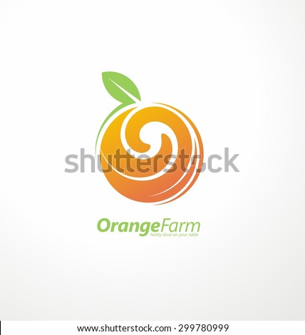 Orange farm logo design concept. Fruit and juice icon theme. Organic and healthy food unique symbol with swirl shape. - stock vector