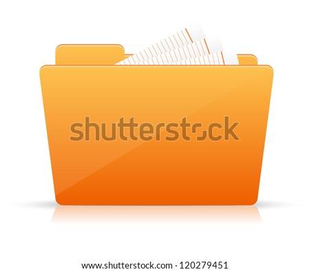 Orange file folder icon - stock vector