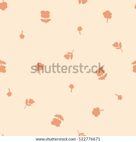 Orange floral background.  Small  floral. graphic print
