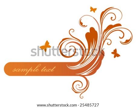 Orange floral frame - stock vector