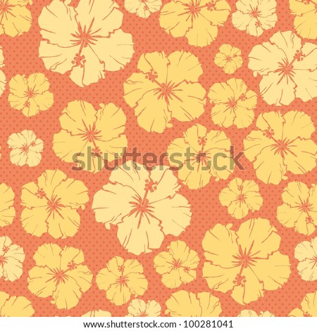 orange floral repeating pattern of a hibiscus flower.