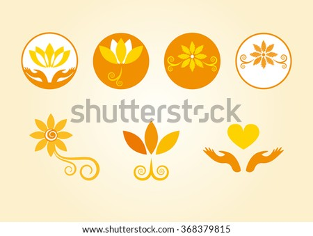 Orange flowers in the logo. Floral esoteric elements. Esoterically decorated flowers. Set of vector flowers. Yellow icons. Decorative floral icons. Soothing flower icons. Flower logo - stock vector