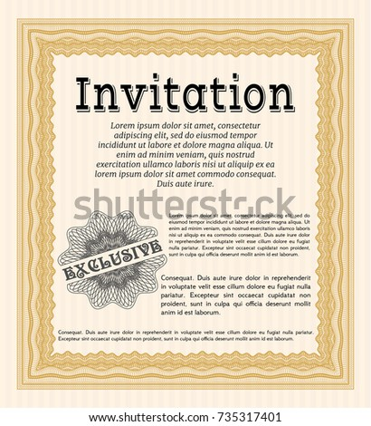 Orange formal invitation template money style stock vector 735317401 orange formal invitation template money style design detailed with background stopboris Image collections