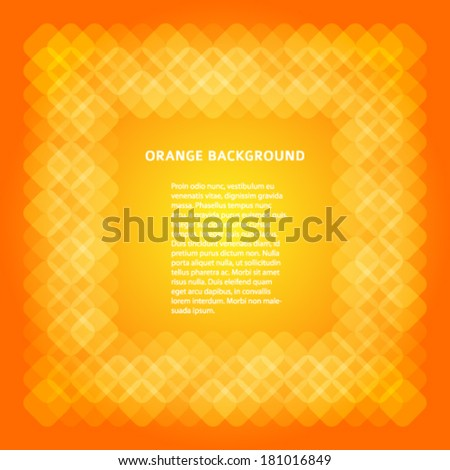 Orange frame & place for your text isolated. Abstract business cover design elements, yellow textured for magazine or poster. Vector illustration eps 10. Gorgeous graphic image web page or tag label  - stock vector