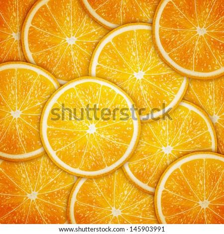 Orange fruit slices background eps10 vector illustration - stock vector