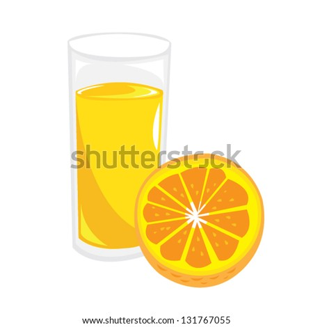 Orange fruit with juice extract in glass Vector Illustration. Can be resized and recolored.