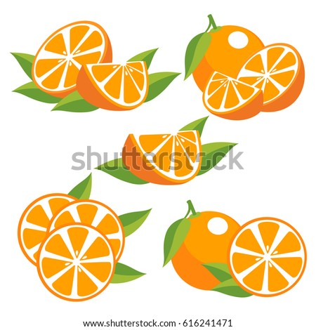 Orange fruit with leaves. Collection of different fresh orange fruit on white background.