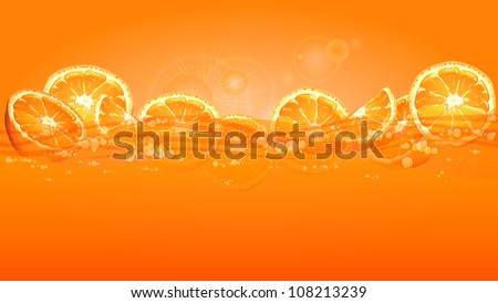 Orange fruits slices in juice on yellow background, vector illustration - stock vector