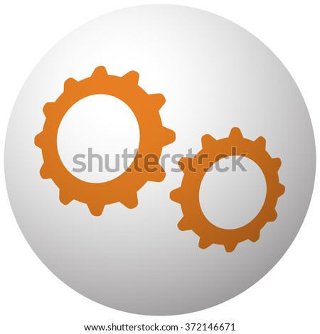 Orange Gears icon on sphere isolated on white background