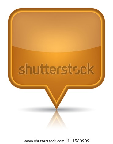 Orange glossy blank map pin icon web button. Rounded rectangle shape with black shadow and reflection on white background. - stock vector