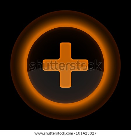 Orange glossy web button with addition sign. Shape icon on black background. 10 eps