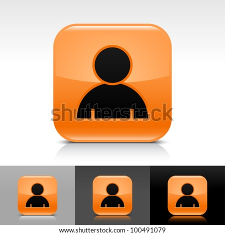 Orange glossy web button with black user profile sign. Rounded square shape icon with shadow, reflection on white, gray, black background. Vector 8 eps. - stock vector