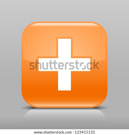 Orange glossy web button with plus sign. Rounded square shape icon with shadow and reflection on light gray background. This vector illustration web design element saved in 8 eps - stock vector