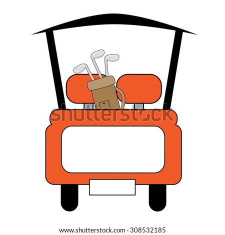 Orange Golf Cart - stock vector