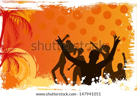 Orange grunge palm background with dancing people - stock vector