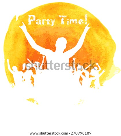 Orange grunge watercolored background with dancing people  - stock vector