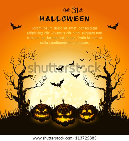 Orange grungy halloween background with spooky pumpkins, full moon, trees and bats.  Vector Illustration.