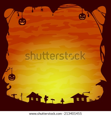 Orange Halloween background, gloomy landscape with houses, illustration. - stock vector