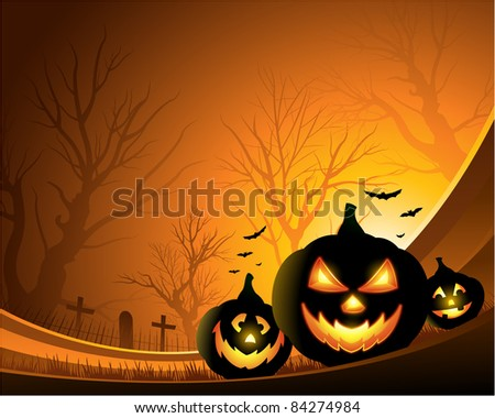orange Halloween background with pumpkins - stock vector