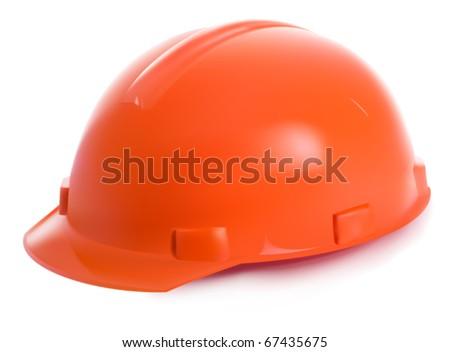 Orange hard hat. Vector illustration - stock vector