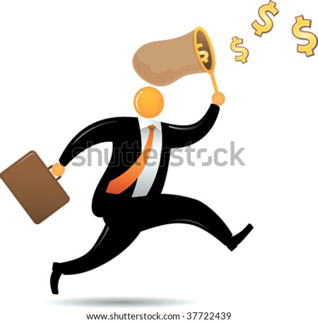 Orange Head running chasing flying dollar - stock vector