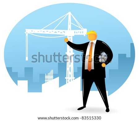 Orange Head wearing black suit on the building construction project - stock vector
