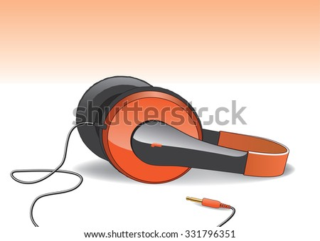 Orange headphones isolated on light orange / white background with cable and plug - stock vector
