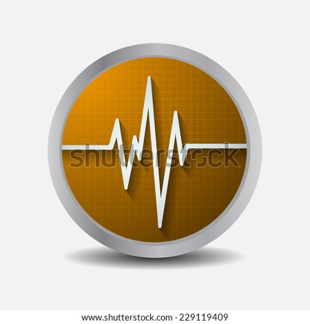 Orange Heart pulse monitor with signal. Heart beat. icon. - stock vector