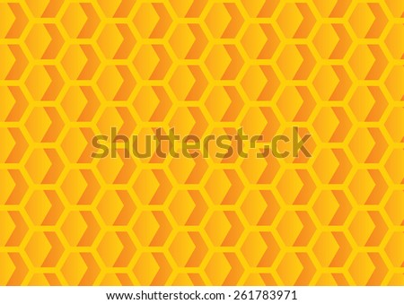 Orange hexagons geometric pattern. Vector illustration - stock vector