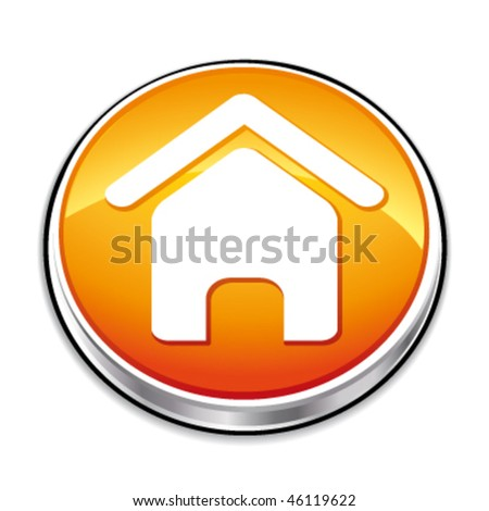 Orange home icon. Vector illustration. - stock vector