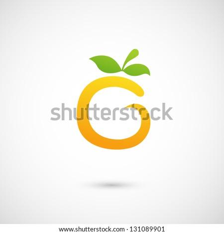 Orange Icon - alphabet shape O - stock vector