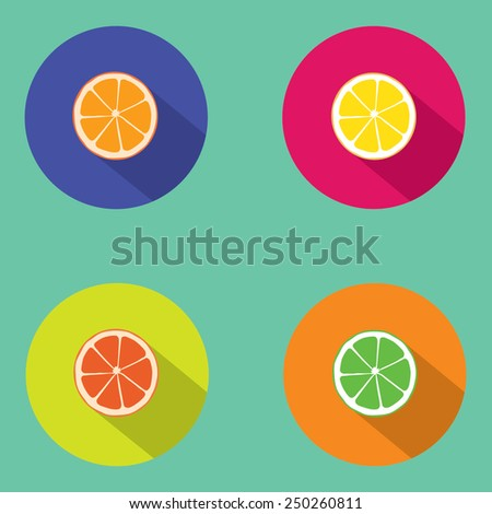 Orange icon. Flat design style modern vector illustration. Isolated on stylish color background. Flat long shadow icon. Elements in flat design. - stock vector