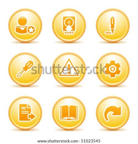 Orange internet button 6 - stock vector
