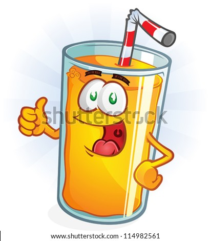 Orange Juice Cartoon Character Thumbs Up - stock vector