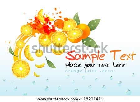 orange juice composition - stock vector