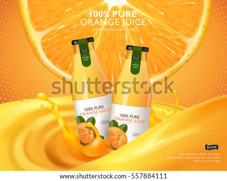 orange juice contained in glass bottles, juice and cut orange background