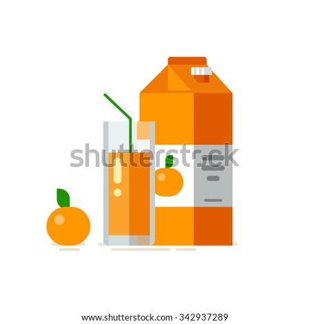 Orange juice in glass. Orange juice in carton box. Vector illustration. Flat design style - stock vector