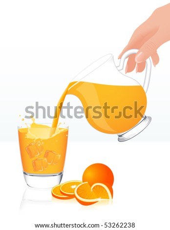 Orange juice jar, vector illustration - stock vector