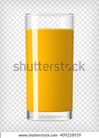 Orange juice. Juice glass. Fruit juice. Organic drink. Tropical juice. Healthy diet. Clean eating. Orange juice in a glass. Tall glass with beverage. Transparent  photo realistic vector illustration.  - stock vector
