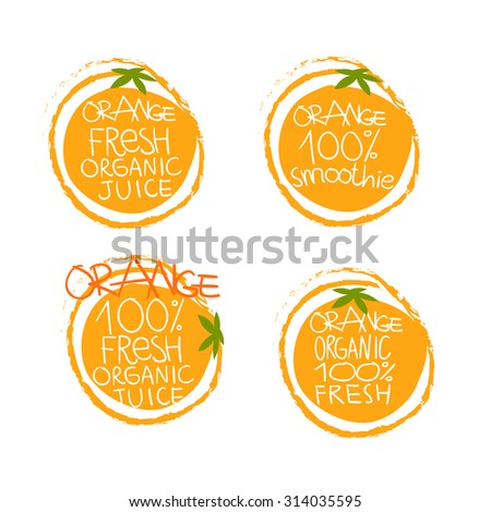 Orange juice or products vector set of icons for use - stock vector