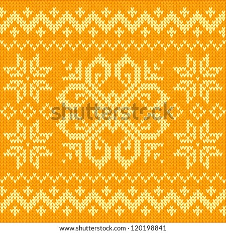 Orange knitted ornamental embroidery seamless pattern with abstract flower and stars - stock vector
