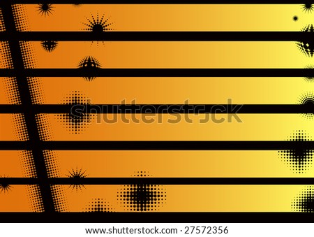 Orange Landscape Graphic Strips -  Can be used seperately or together  (Transparent vectors so it can be overlaid onto other graphics and images) - stock vector