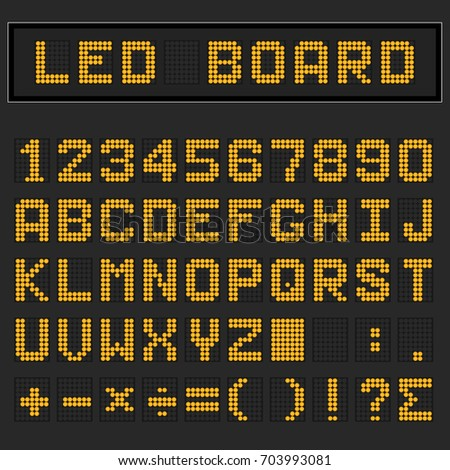 Orange LED digital english uppercase font, number and mathematics symbol display on black background