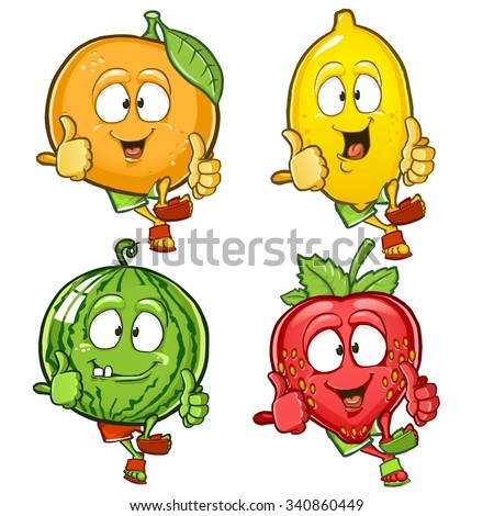 Orange, lemon, watermelon and strawberry cartoon characters showing thumbs up isolated on white background - stock vector