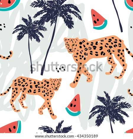 Orange leopard, watermelon and palm trees on the white background with pastel strokes. Vector seamless pattern with african animal and fruit. Tropical illustration. Hand drawn. - stock vector