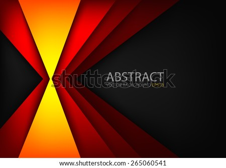 Orange light angle hot tone color background and red line overlap layer paper on dark space for text and message modern artwork design - stock vector