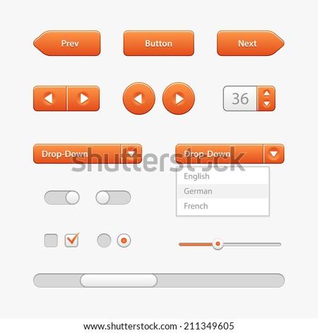 Orange Light User Interface Controls. Web Elements. Website, Software UI: Buttons, Switchers, Slider, Arrows, Drop-down, Navigation Bar, Menu, Check Box, Radio, Scroller, Input Search, Progress Bar  - stock vector